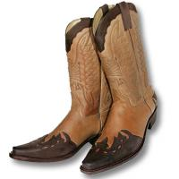 WESTERN BOOTS IN SOFT LEATHER WITH CONTRASTING INSERTS, SANCHO BOOTS brand