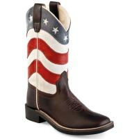 WESTERN JUNIOR and LADIES BOOTS USA FLAG OLD WEST