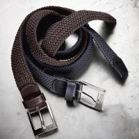 ELASTIC VOWEN BELT UNISEX EQUILINE ONE WITH END PARTS IN LEATHER
